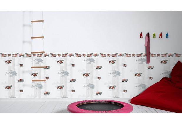 AS Création Bordüre Little Stars Borte PVC-frei grau rot schwarz 5,00 m x 0,13 m
