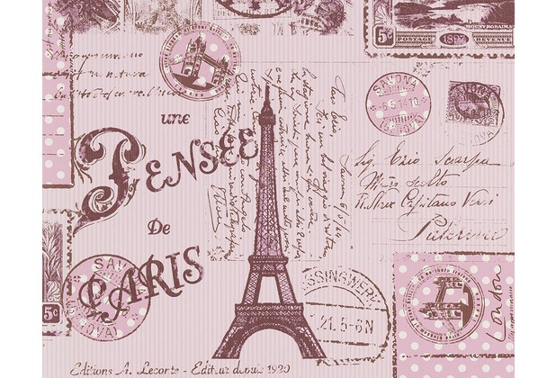 """AS Création Boys & Girls 4 Mustertapete \""""Briefmarken\"""", Papiertapete, braun, rot, 936302 10,05 m x 0,53 m"""