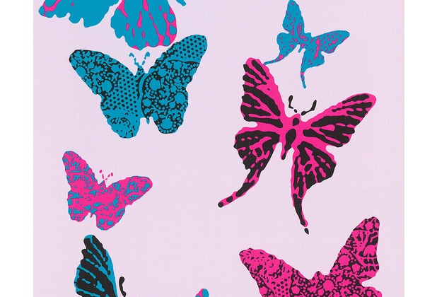 "AS Création Boys & Girls 4 Mustertapete \""Butterflies\"", blau, schwarz, violett 936342 10,05 m x 0,53 m"