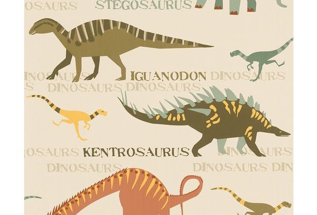 "AS Création Boys & Girls 4 Mustertapete \""Dinosaurier\"", Papiertapete, beige, bunt 936331 10,05 m x 0,53 m"