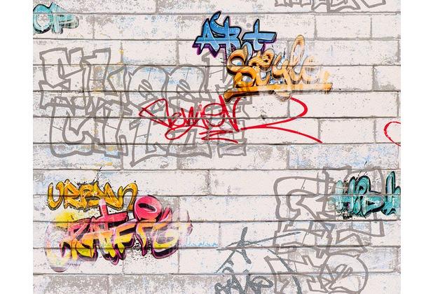 """AS Création Boys & Girls 4 Mustertapete \""""Graffities\"""", Papiertapete, bunt, weiss 935611 10,05 m x 0,53 m"""