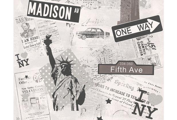 "AS Création Boys & Girls 4 Mustertapete \""I Love NY\"", Papiertapete, grau, metallic 936251 10,05 m x 0,53 m"