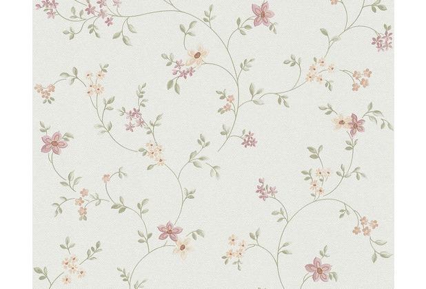 "AS Création Fleuri Pastel Mustertapete \""Field Flowers\"", Tapete, bunt, grün, weiss 10,05 m x 0,53 m"