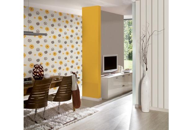 AS Création florale Mustertapete Happy Spring Vliestapete braun gelb weiß 347702 10,05 m x 0,53 m