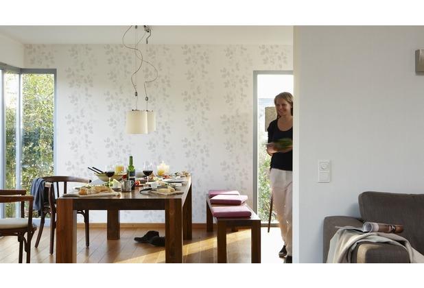AS Création florale Mustertapete Happy Spring Vliestapete grau weiß 10,05 m x 0,53 m