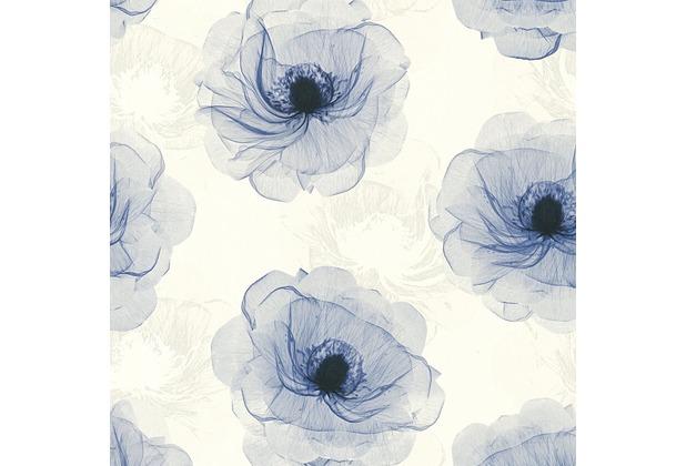 AS Création florale Mustertapete in Röntgen Optik X-Ray Vliestapete blau creme metallic 342741 10,05 m x 0,53 m