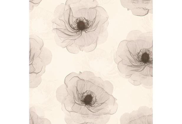 AS Création florale Mustertapete in Röntgen Optik X-Ray Vliestapete braun creme metallic 342742 10,05 m x 0,53 m