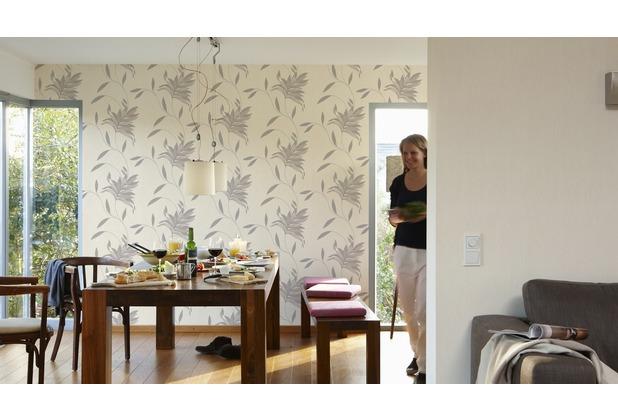 AS Création florale Mustertapete Kingston Strukturprofiltapete creme grau metallic 10,05 m x 0,53 m