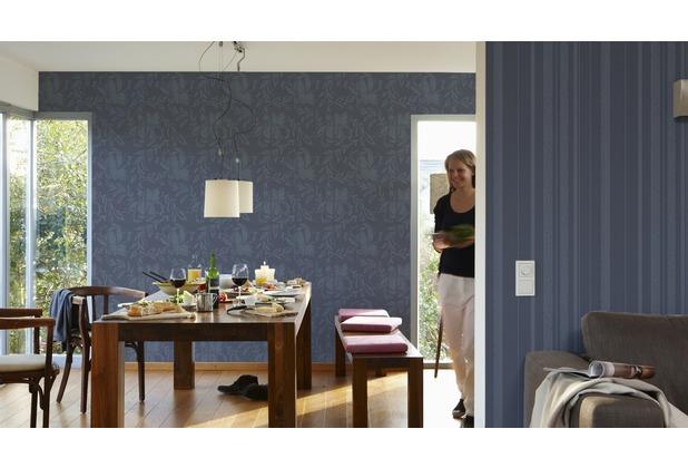 AS Création florale Mustertapete New Look Vliestapete blau grau 10,05 m x 0,53 m