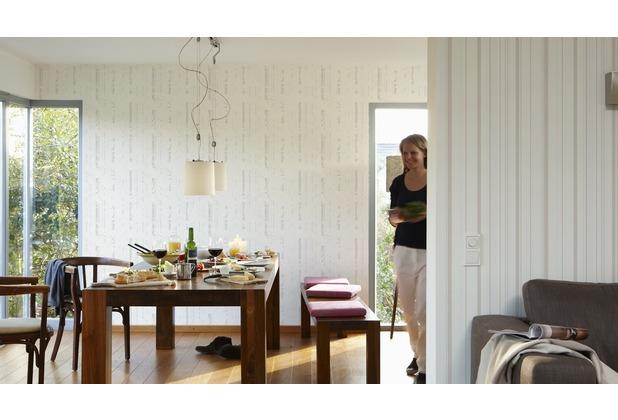 AS Création florale Mustertapete New Look Vliestapete creme metallic weiß 10,05 m x 0,53 m