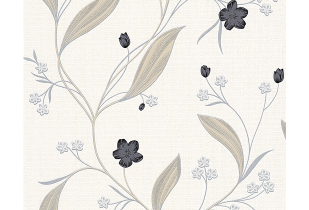 AS Création florale Mustertapete New Orleans Strukturprofiltapete beige metallic schwarz 303935 10,05 m x 0,53 m