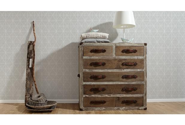 AS Création grafische Mustertapete Ökotapete Scandinavian Style grau metallic weiß 10,05 m x 0,53 m
