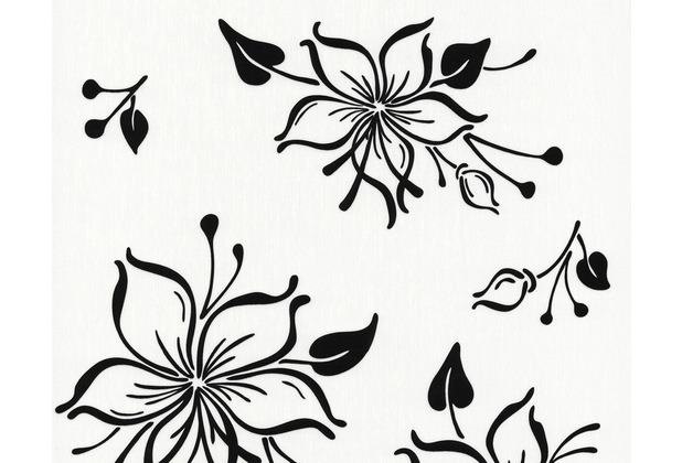 """AS Création Happy Hour Mustertapete \""""Young Flowers\"""", Vliestapete, schwarz, weiss 10,05 m x 0,53 m"""