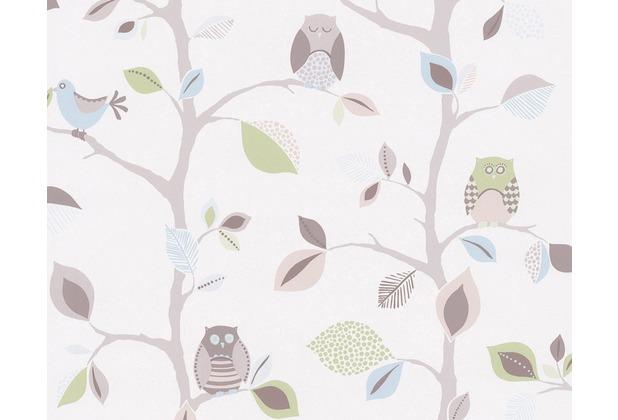 """AS Création Kids Party Mustertapete \""""Sweet little Owl`s\"""", blau, bunt, grün 856333 10,05 m x 0,53 m"""