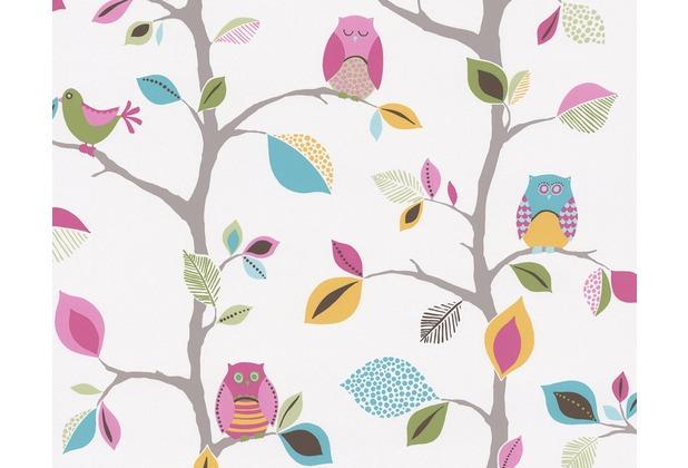"AS Création Kids Party Mustertapete \""Sweet little Owl`s\"", bunt, gelb, grün 856326 10,05 m x 0,53 m"