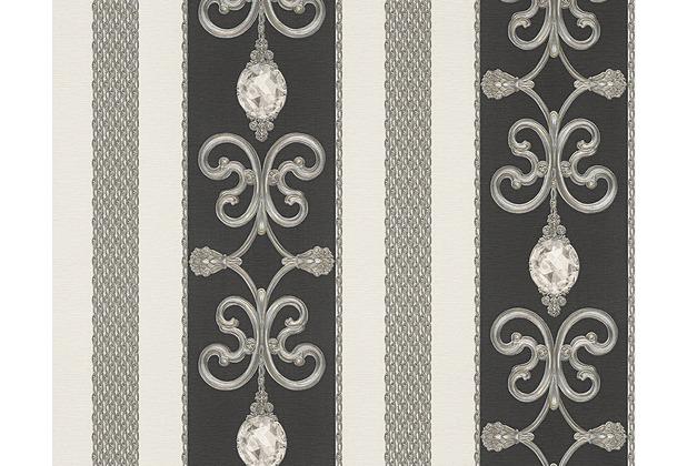 AS Création Mustertapete Black & White 3, Tapete, metallic, schwarz 891334 10,05 m x 0,53 m