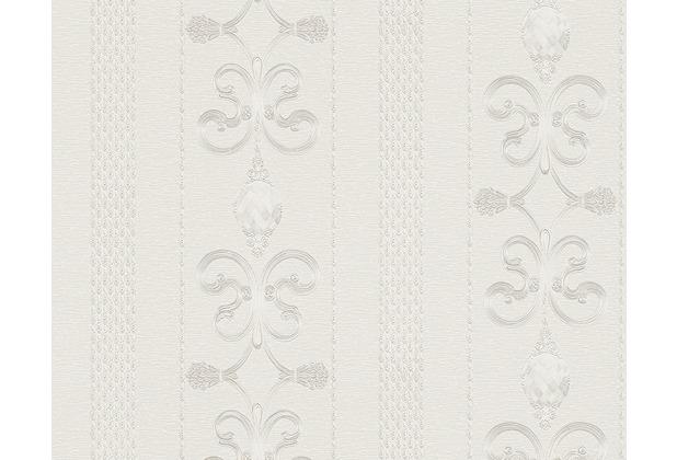 AS Création Mustertapete Black & White 3, Tapete, metallic, weiß 891327 10,05 m x 0,53 m