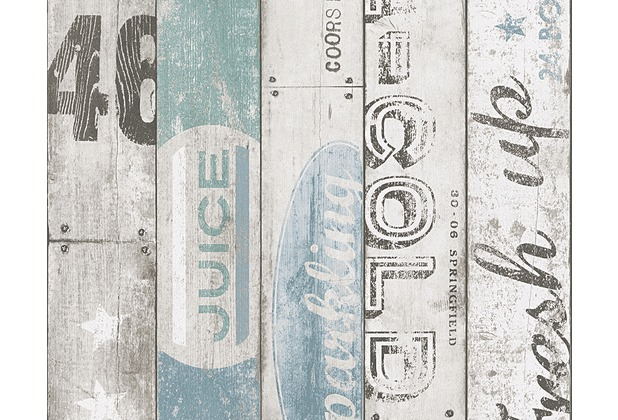 AS Création Mustertapete Boys & Girls 5, Papiertapete, beige, blau, grün 959503 10,05 m x 0,53 m