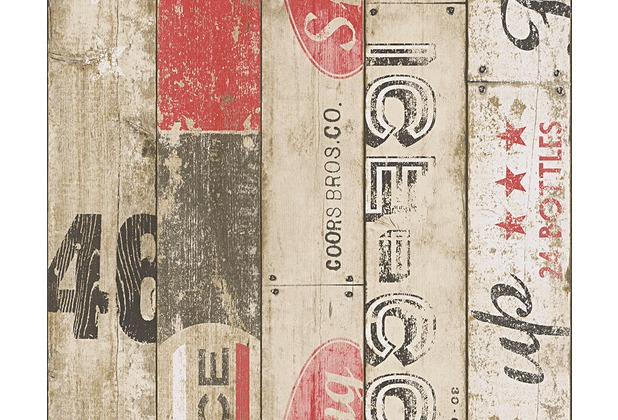 AS Création Mustertapete Boys & Girls 5, Papiertapete, beige, rot, schwarz 959501 10,05 m x 0,53 m