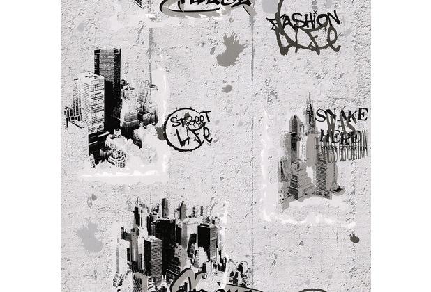 AS Création Mustertapete Dekora Natur, Papiertapete, signalweiß schwarz quarzgrau 684011 10,05 m x 0,53 m