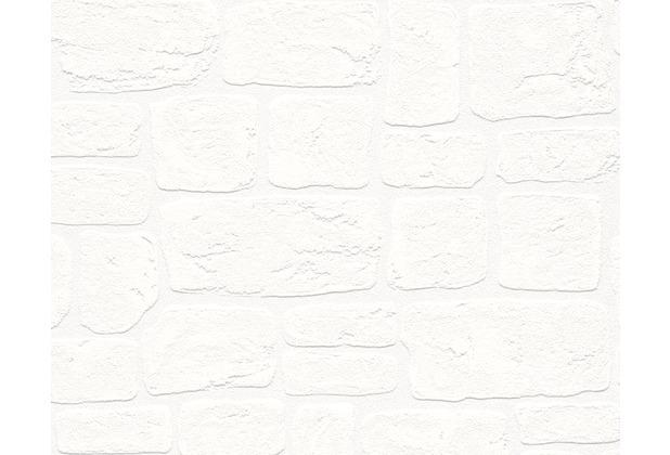 AS Création Mustertapete Dekora Natur, Strukturprofiltapete, signalweiß, reinweiß 204042 10,05 m x 0,53 m