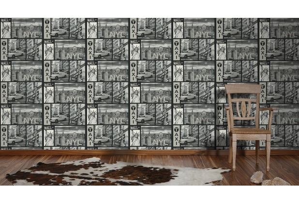 AS Création Mustertapete Faro 4, Tapete, metallic, schwarz, weiss 300452 10,05 m x 0,53 m
