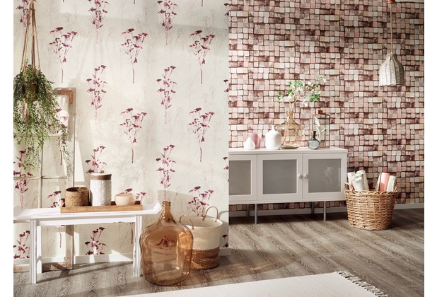 AS Création Mustertapete Free Nature Vliestapete beige braun lila 10,05 m x 0,53 m