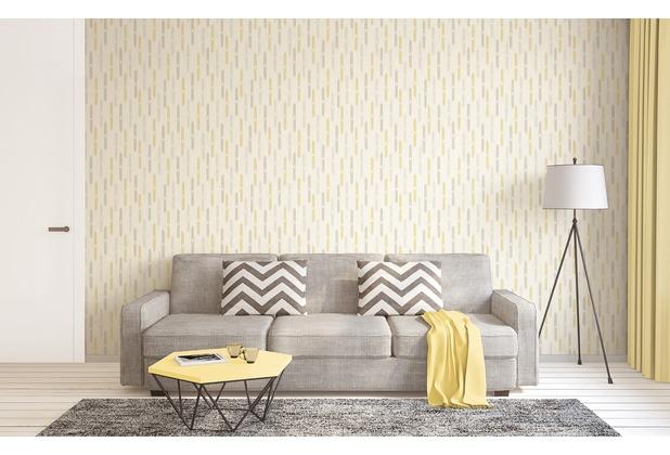AS Création Mustertapete im skandinavischen Stil Björn Vliestapete beige creme gelb 10,05 m x 0,53 m