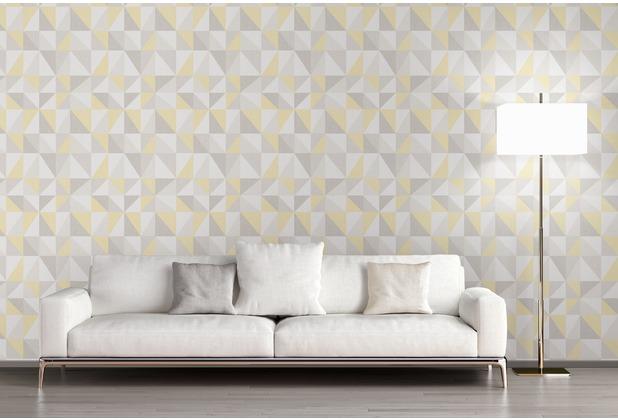 AS Création Mustertapete im skandinavischen Stil Björn Vliestapete gelb grau 10,05 m x 0,53 m