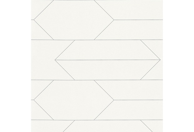 AS Création Mustertapete im skandinavischen Stil Björn Vliestapete metallic weiß 348681 10,05 m x 0,53 m