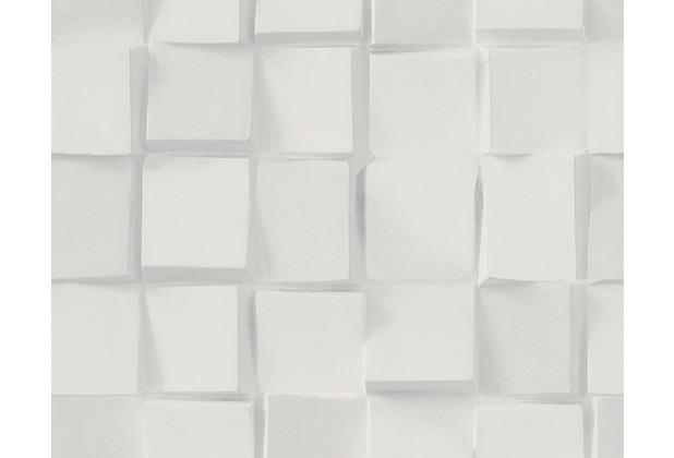 AS Création Mustertapete in 3D-Optik Authentic Walls Tapete grau weiß 302501 10,05 m x 0,53 m