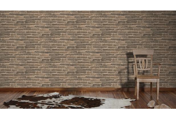 AS Création Mustertapete in Bruchsteinoptik New Look Tapete beige grau 307472 10,05 m x 0,53 m