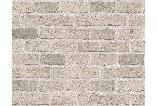 AS Création Mustertapete in Backsteinoptik Dekora Natur, Papiertapete, cremeweiß 779830 10,05 m x 0,53 m