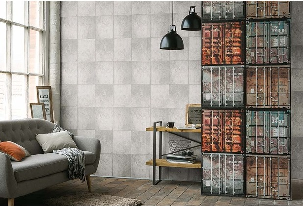 AS Création Mustertapete in Betonoptik Authentic Walls Tapete grau 10,05 m x 0,53 m