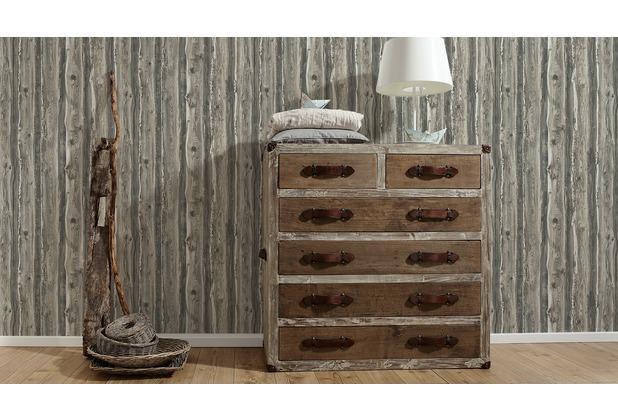 AS Création Mustertapete in Holzoptik Dekora Natur, Papiertapete, perlweiß, sepiabraun, graubraun 10,05 m x 0,53 m