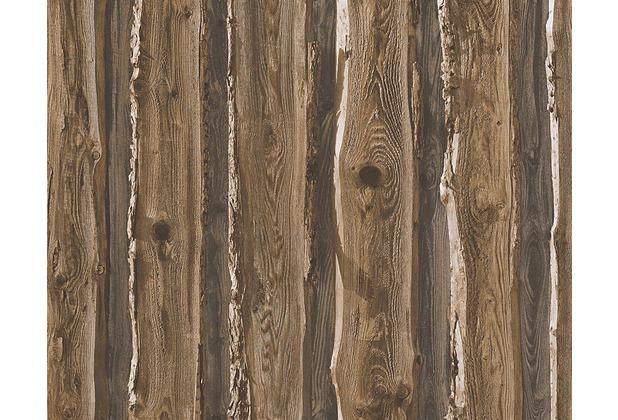 AS Création Mustertapete in Holzoptik Dekora Natur, Papiertapete, schwarzbraun 958371 10,05 m x 0,53 m