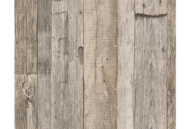AS Création Mustertapete in Holzoptik Dekora Natur, Tapete, cremeweiß, graubraun 959312 10,05 m x 0,53 m