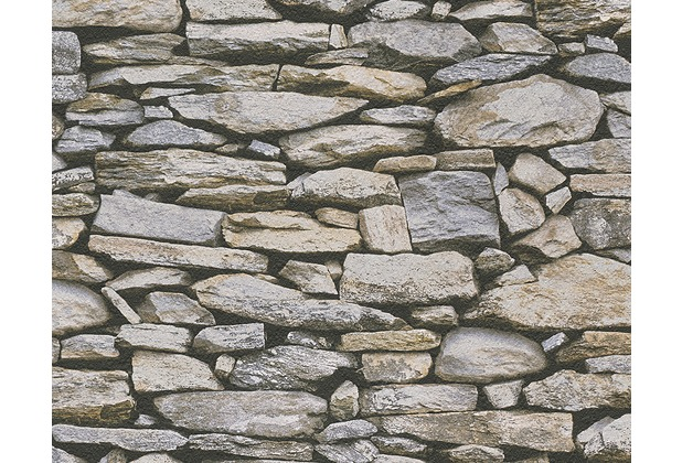 AS Création Mustertapete in Natursteinoptik Dekora Natur, Papiertapete, braun, grau 958202 10,05 m x 0,53 m