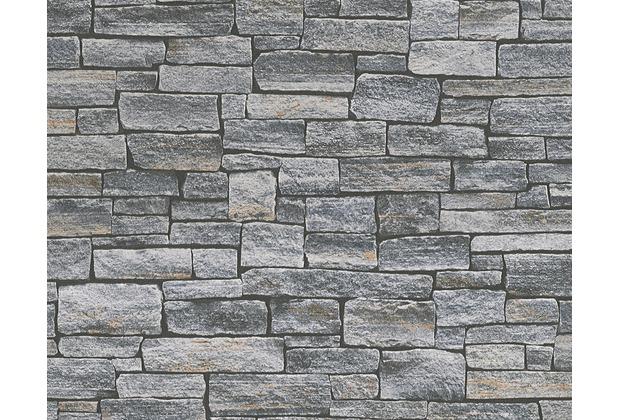 AS Création Mustertapete in Natursteinoptik Dekora Natur, Tapete, blaugrau, schwarzbraun 958711 10,05 m x 0,53 m