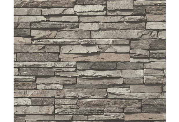AS Création Mustertapete in Natursteinoptik Dekora Natur, Tapete, perlweiß, schwarzbraun 958331 10,05 m x 0,53 m