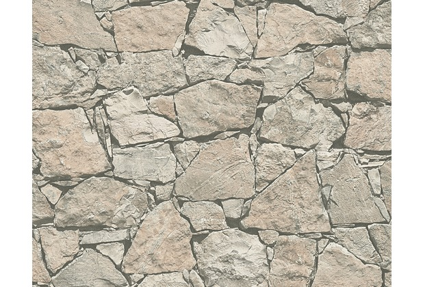 AS Création Mustertapete in Natursteinoptik Dekora Natur, Tapete, schwarzgrau, perlweiß 958632 10,05 m x 0,53 m