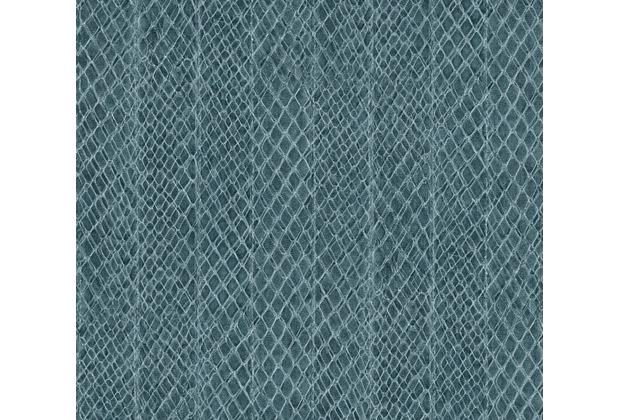 AS Création Mustertapete in Reptilienoptik Saffiano blau 339871 10,05 m x 0,53 m