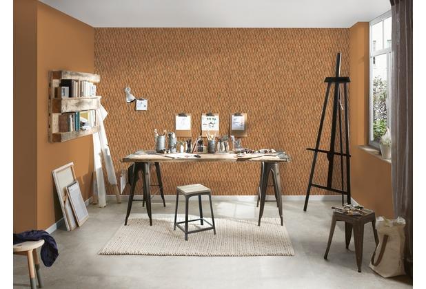 AS Création Mustertapete in Riffelblech Optik Happy Spring Vliestapete braun orange 10,05 m x 0,53 m