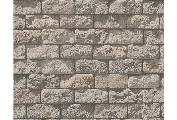 AS Création Mustertapete in Steinoptik Dekora Natur, Papiertapete, signalweiß, beigegrau 958342 10,05 m x 0,53 m
