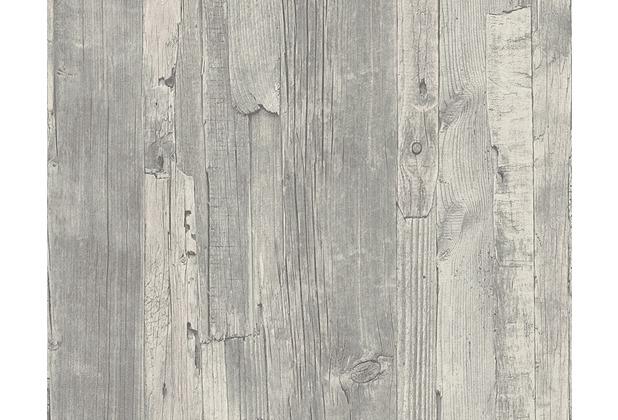 AS Création Mustertapete in Vintage-Holzoptik Decoworld, Tapete, reinweiß, blaugrau 954054 10,05 m x 0,53 m