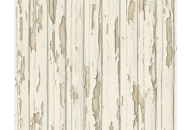 AS Création Mustertapete in Vintage-Holzoptik Dekora Natur, Tapete, perlweiß, staubgrau 958831 10,05 m x 0,53 m