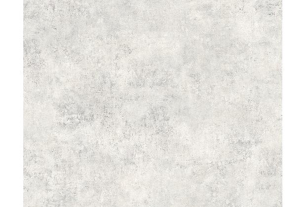AS Création Mustertapete in Vintage-Putzoptik Decoworld, Tapete, signalgrau, reinweiß 954064 10,05 m x 0,53 m