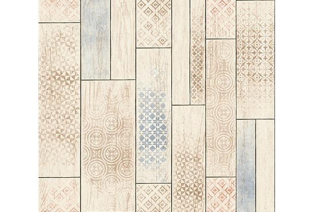 AS Création Mustertapete in Vintage Holz Optik Kitchen Dreams Tapete beige blau braun 330893 10,05 m x 0,53 m