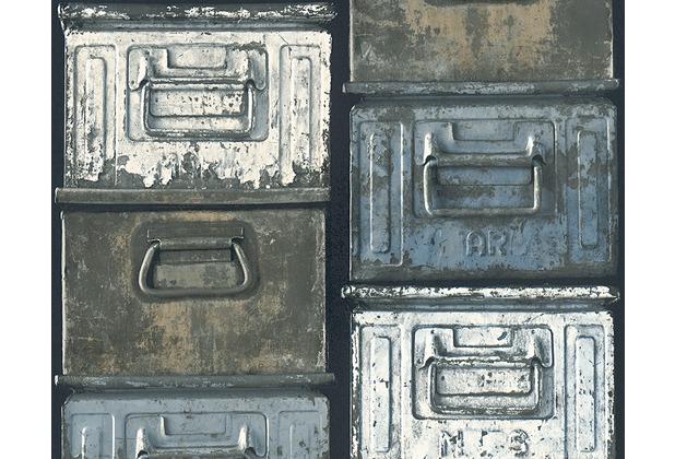 AS Création Mustertapete in Vintage Optik Around the world Tapete blau schwarz weiß 306751 10,05 m x 0,53 m