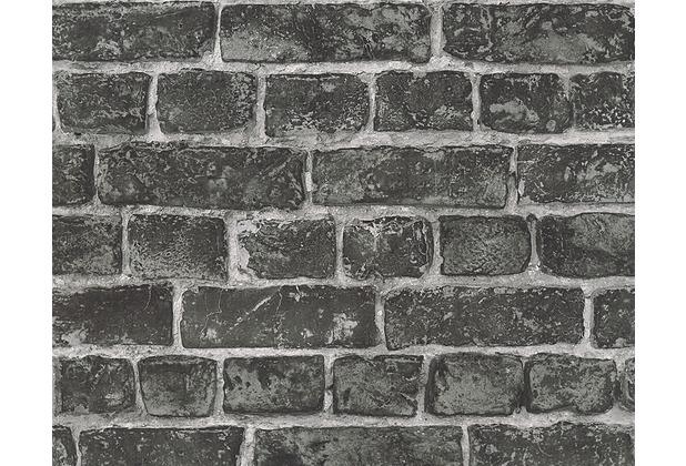 AS Création Mustertapete in Vintage Steinoptik Around the world Tapete schwarz 306822 10,05 m x 0,53 m
